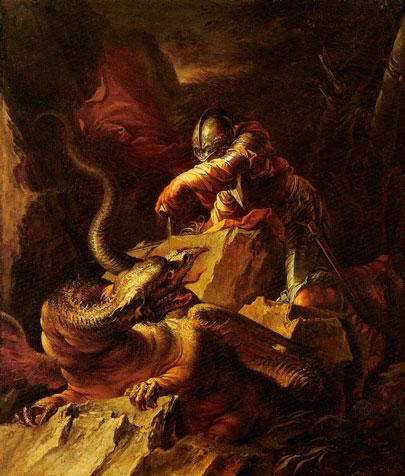 Jasón encantando el dragón. Salvator Rosa