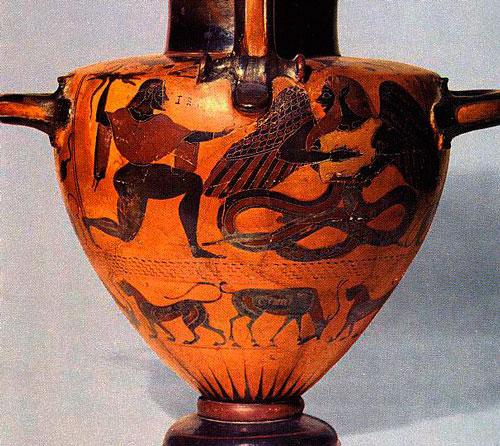 Júpiter y Tifón. Etruria siglo VI a.C