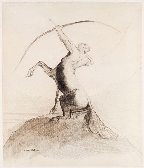 Centauro apuntando a las nubes. Odilon Redon