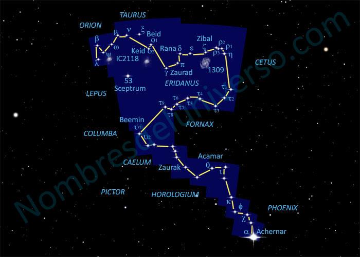 Diseño original de la constelación Eridanus