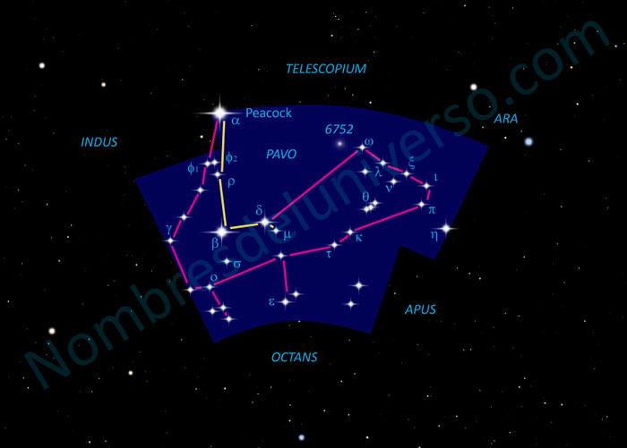 Diseño original de la constelación Pavo
