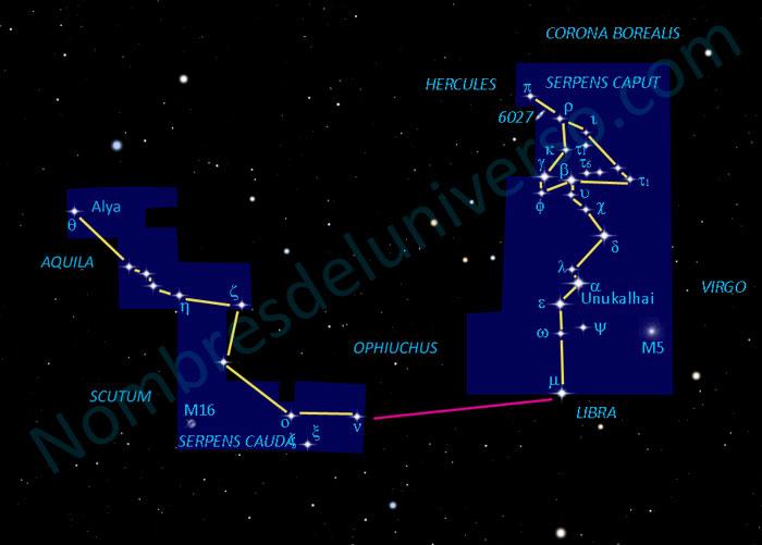 Diseño original de la constelación Serpens Cauda y Serpens Caput