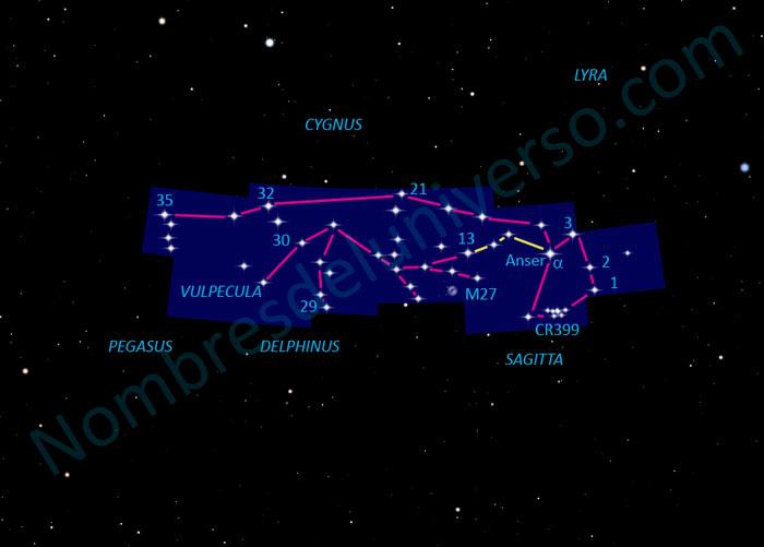 Diseño original de la constelación Vulpecula