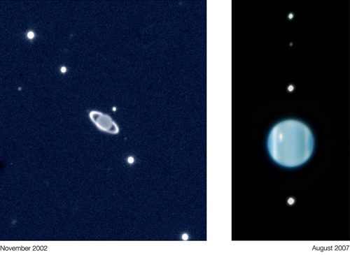The Uranus system seen in November 2002 and in August 2007 when the rings appeared edge-on and are therefore not so visible anymore. The image of 2002 was taken with ISAAC on the VLT while the one of 2007 was taken with NACO and made use of adaptive optics. This explains why the 2007 image is much more detailed.